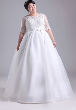 A-Line Scoop Appliques Beading Half Sleeves Floor- Length Charming Plus Size Wedding Dress
