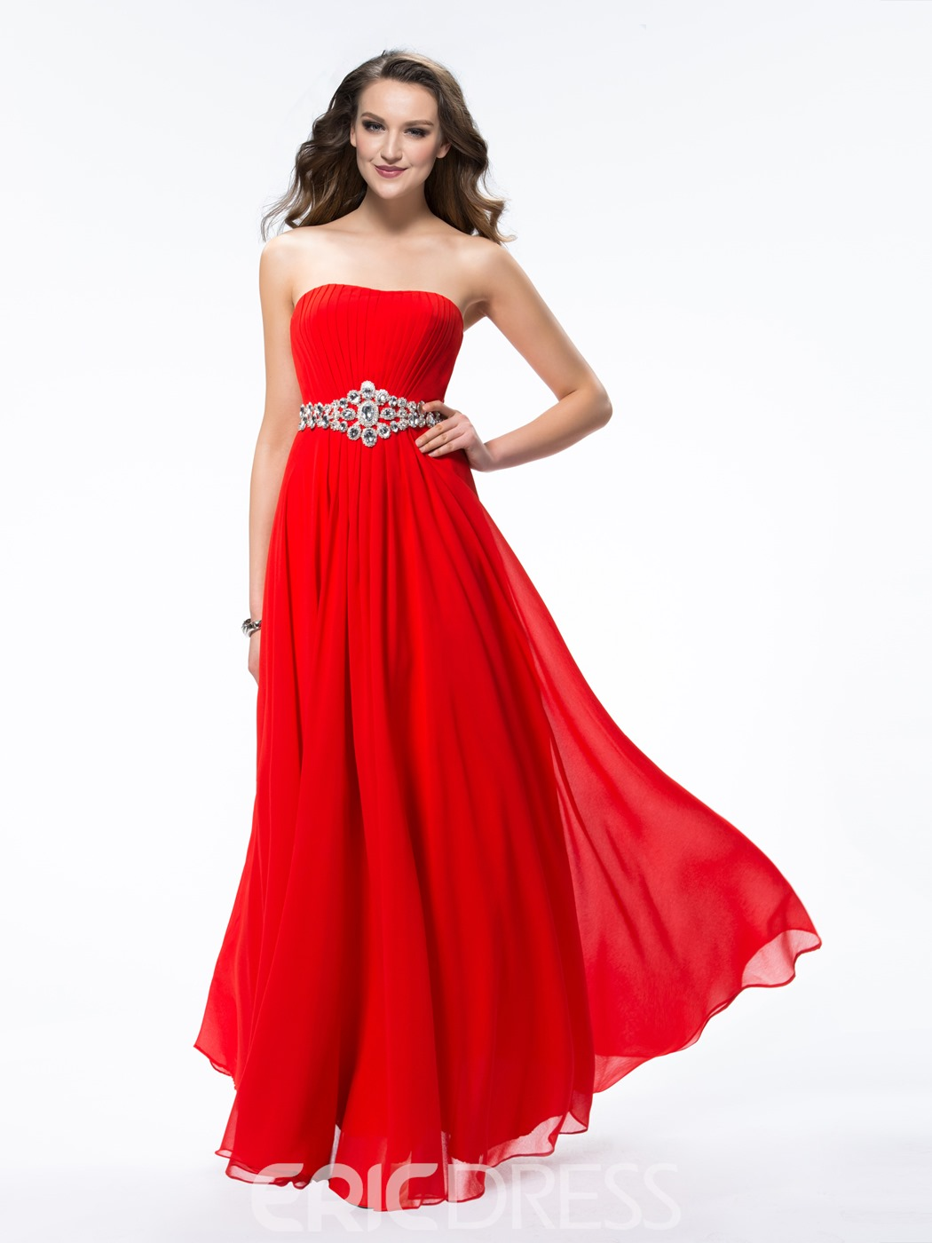 Amazing A-Line Strapless Crystal Zipper-up Floor-Length Prom Dress