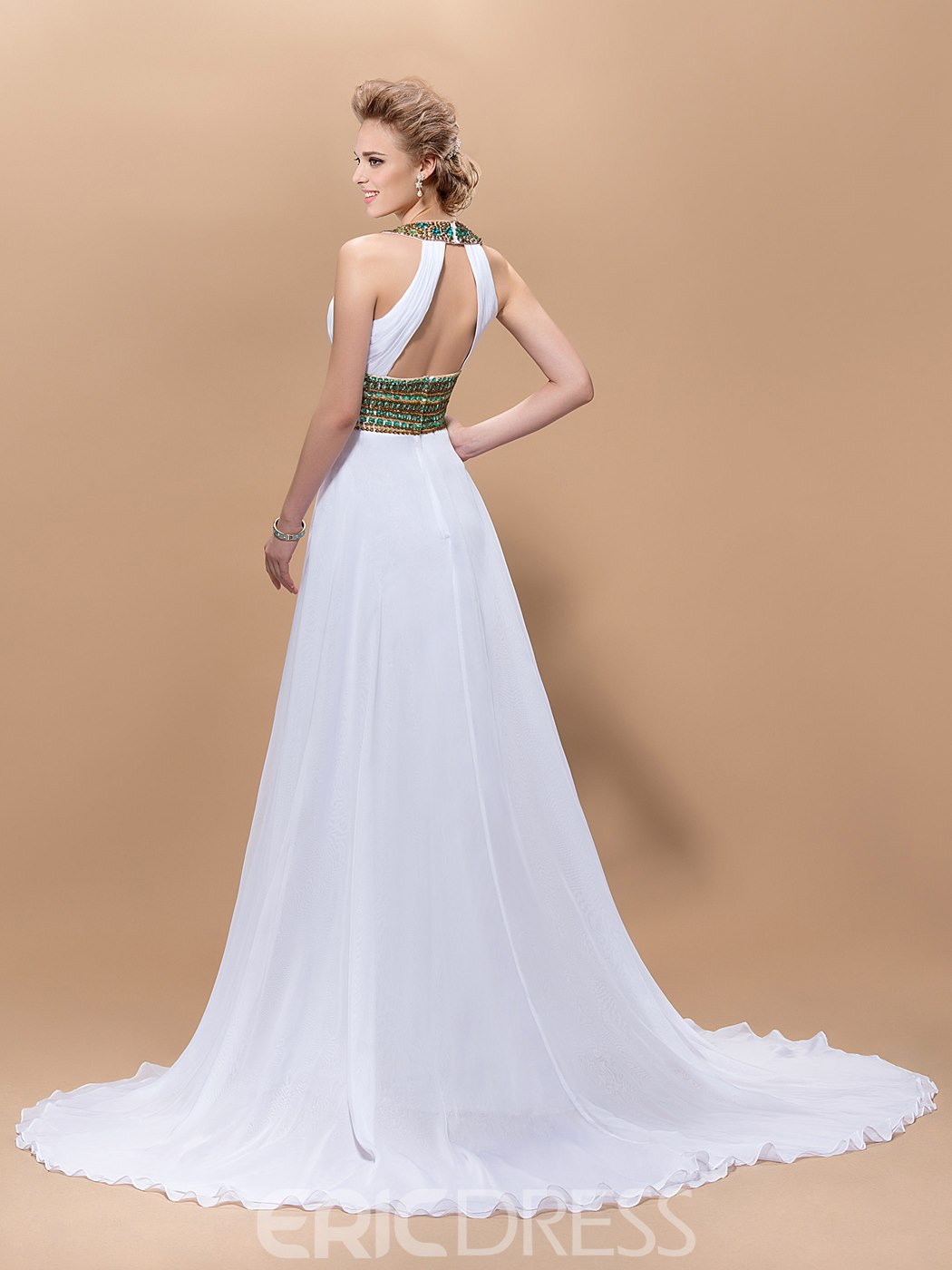 Graceful A-Line Jewel Beading Floor-Length Court-Train Evening Dress