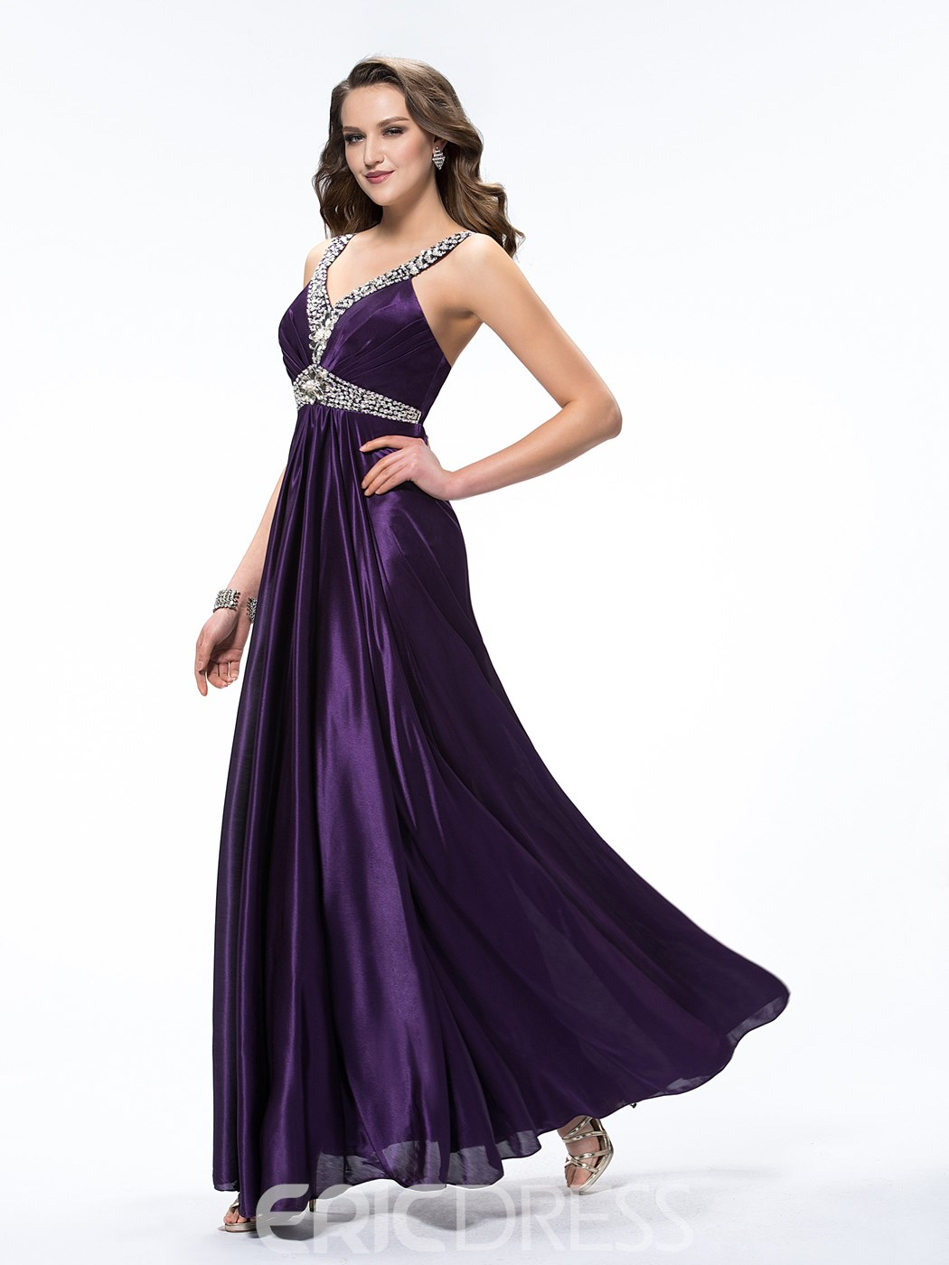 Elegant V-Neck Beading Ruched Straps Empire Floor-Length Evening Dress