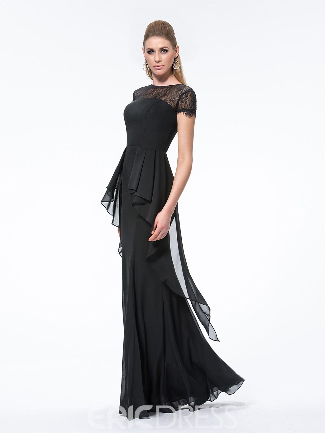 Attractive Mermaid Short Sleeves Lace Bateau Floor-Length Evening Dress