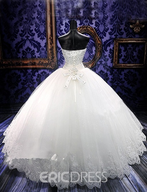Gorgeous Ball Gown Sweetheart Beading Flowers Floor- Length Charming Wedding Dress