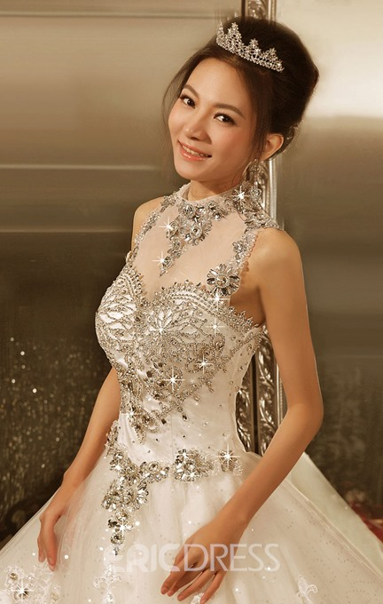 Royal High Neck Appliques Beadings Ball Gown Wedding Dress
