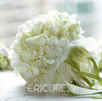 Wonderful Sphere Shaped White Wedding Bridal Bouquet