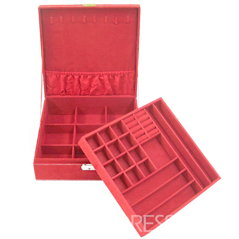 Sweet Fashion Pure Color Double-layer Jewelry Boxes