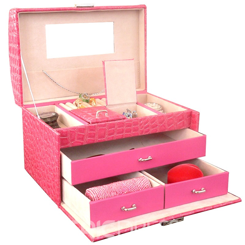 Simple Multilayer Princess Jewelry Boxes 8Colors