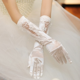 Luxurious Satin Crystal Wedding Glove