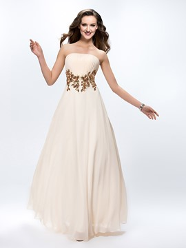 Pretty Pleats Appliques A-Line Zipper-up Floor-Length Prom Dress