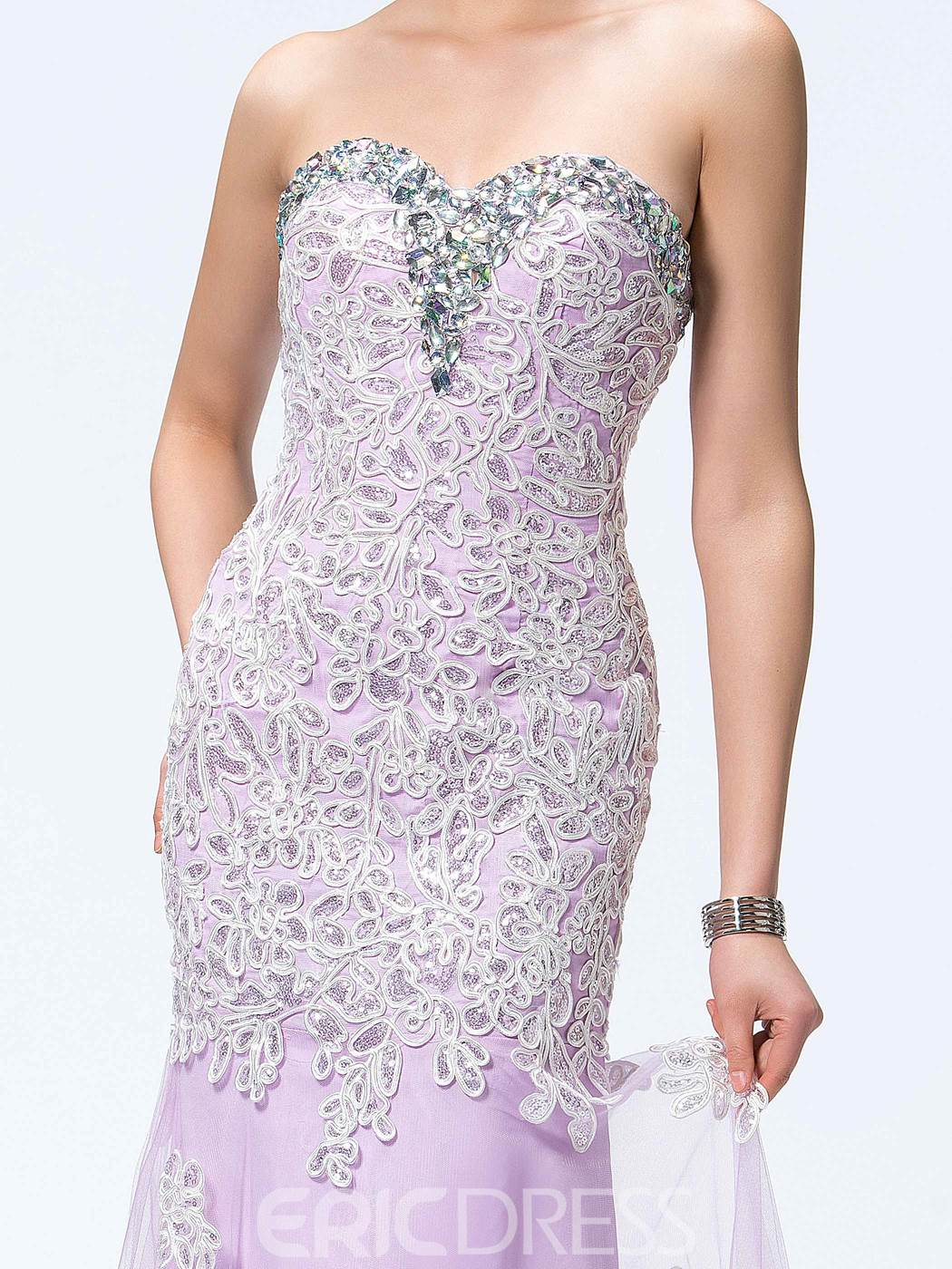 Graceful Sheath Sweetheart Beading Lace Evening Dress