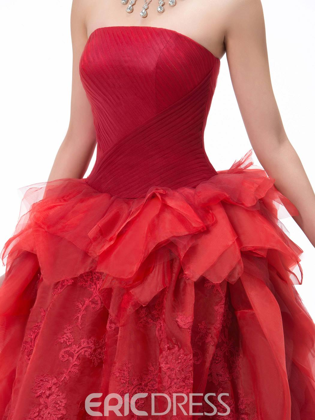 Dramatic Strapless Lace Ruched Floor-Length Court Train Ball Gown