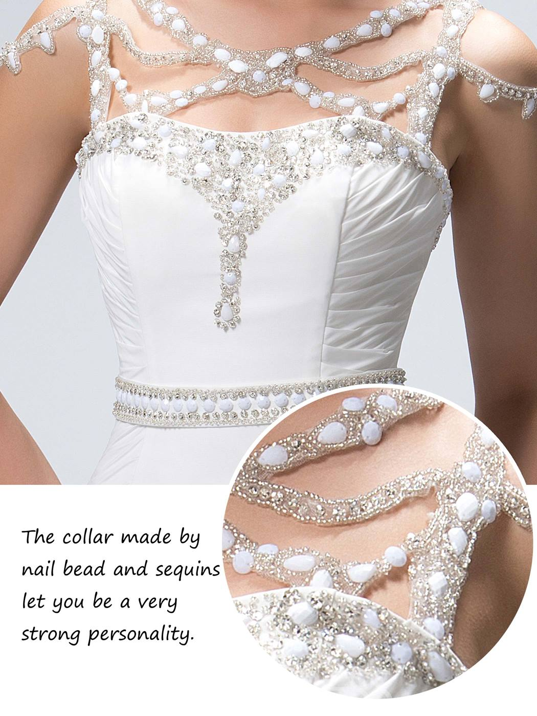Gorgeous Beaded Criss-Cross Court Train Trumpet Evening Dress