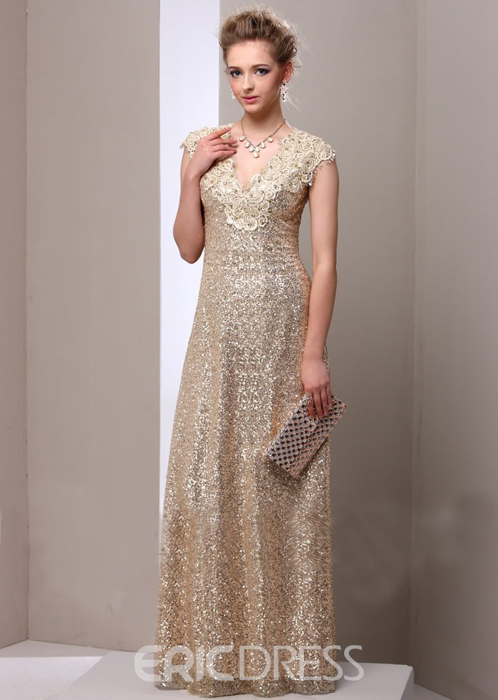 Ericdress Cap Sleeve Appliques Sequins Mother of the Bride Dress