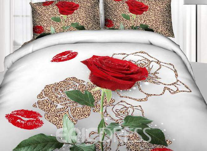 3D Leopard Red Rose with Lips Printed Cotton 4-Piece Bedding Sets/Duvet Covers