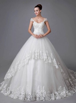 Ericdress Ball Gown Beading Appliques Wedding Dress