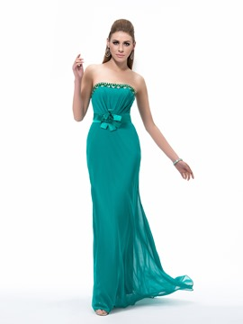 Graceful A Line Strapless Floor Length Sash Flower Beading Evening Dress