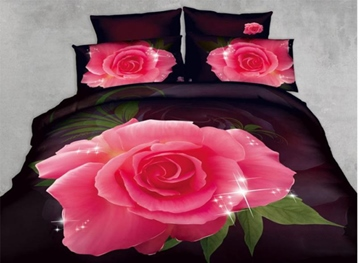 3D Pink Rose Printed Cotton 4-Piece Bedding Sets/Duvet Cover