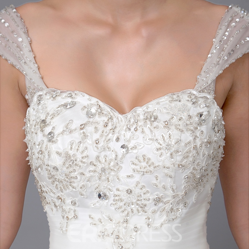 Gorgeous Ball Gown Sweetheart Straps Appliques Beading Chapel Wedding Dress
