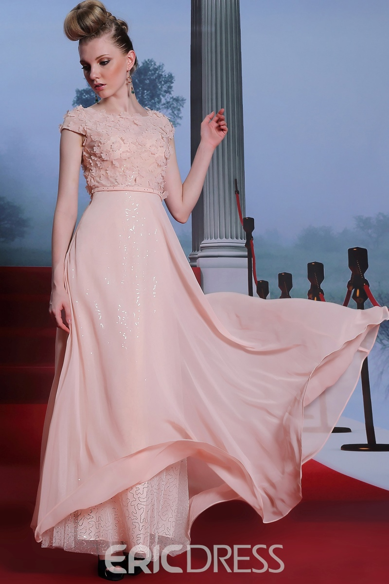 Charming Scoop Applique A-Line Floor Length Prom Dress