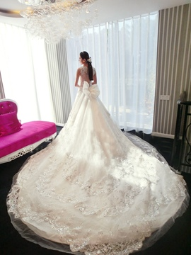 Gorgeous A-Line Appliques Beaded Wedding Dress