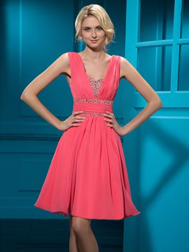 Charming A-line Knee-length Empire Zipper-up Beadings Cocktail Dress