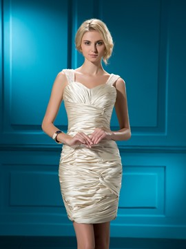 Stunning Short/Mini Zipper-Up Pearl Ruffles Sheath Formal Dress