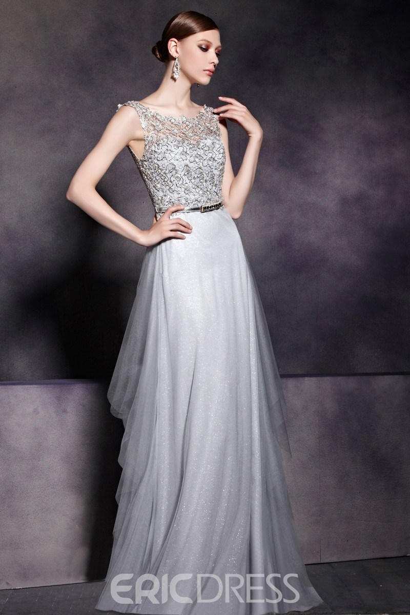 A-Line Scoop Floor Length Sleeveless LaceDramatic Evening Dress