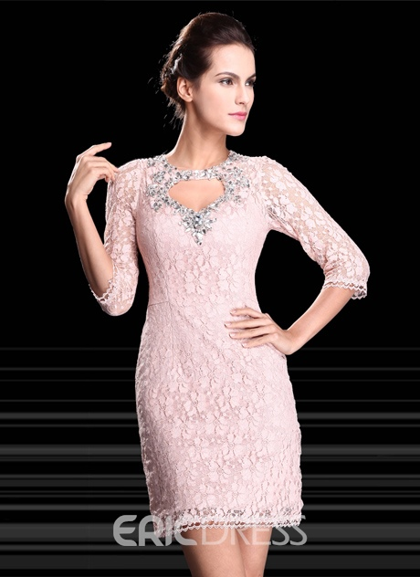 Chic Sheath Lace Crystal Crystal Half Sleeves Short-Length Formal/Cocktail Dress