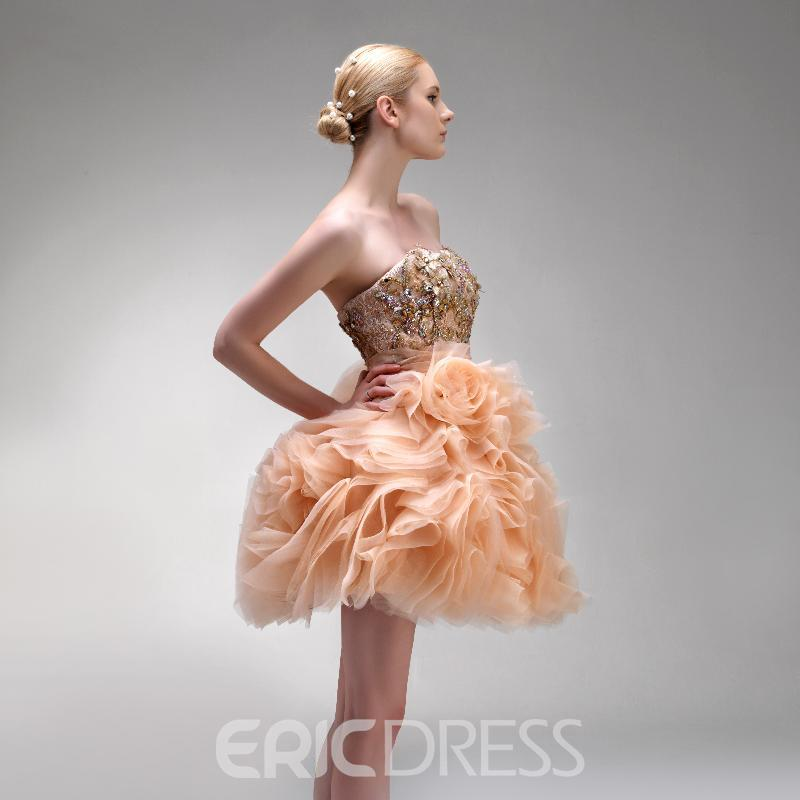 Chic Strapless Lace Beading Ruffles Short-Length Prom/Sweet 16 Dress