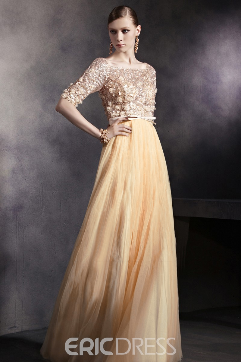Bateau Neck Half Sleeves Lace Corset Floor Length Yellow Tulle A-Line Evening Dress