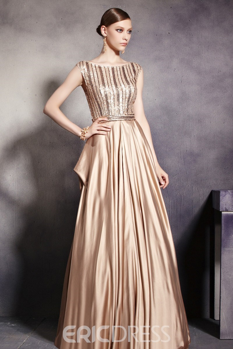 Bateau Neck Sequin Corset Floor Length A-Line Brown Satin Evening Dress