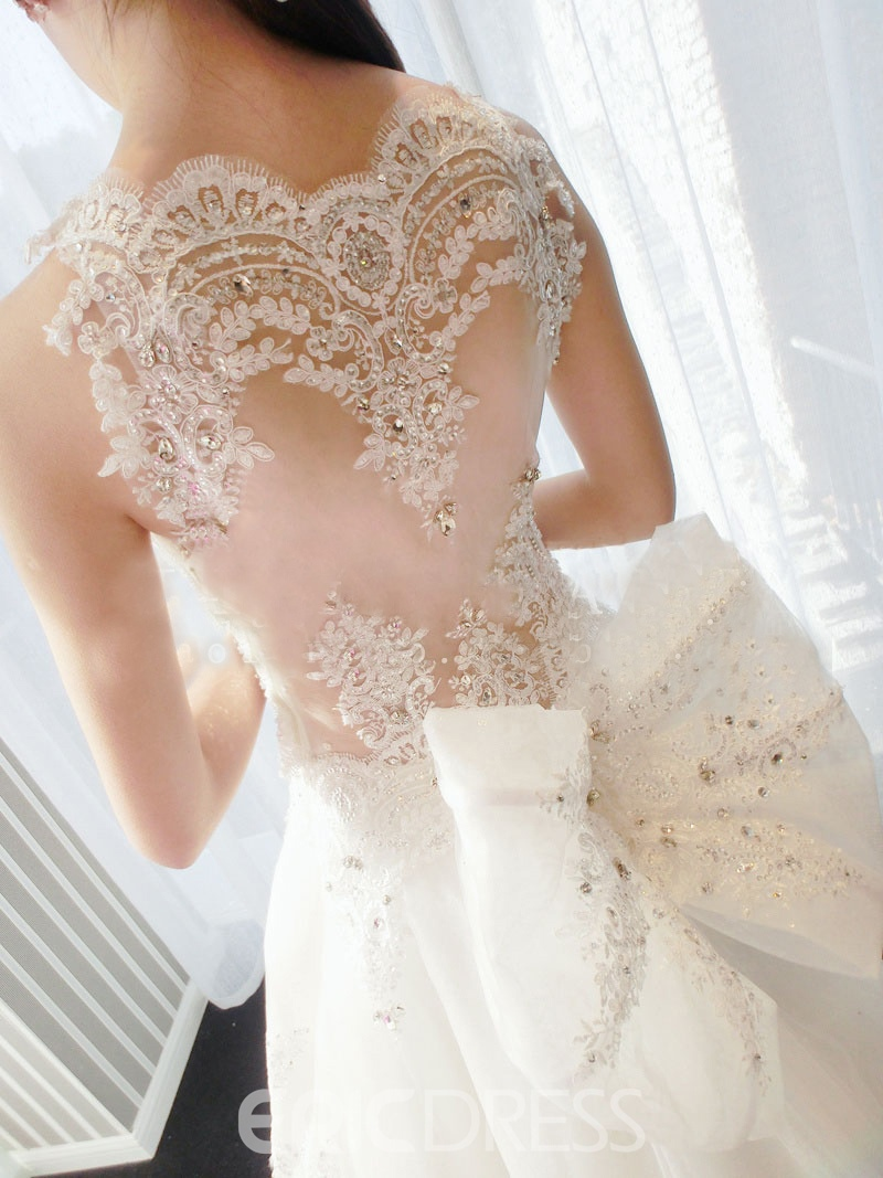Gorgeous A-Line Bateau Appliques Beading Bowknot Cathedral Charming Wedding Dress