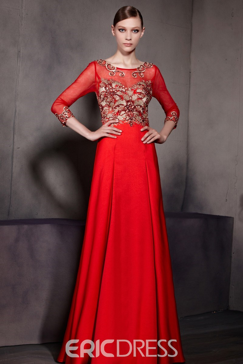 Fascinating Scoop A-Line Zipper-Up Floor-Length Beading Applique Evening Dress