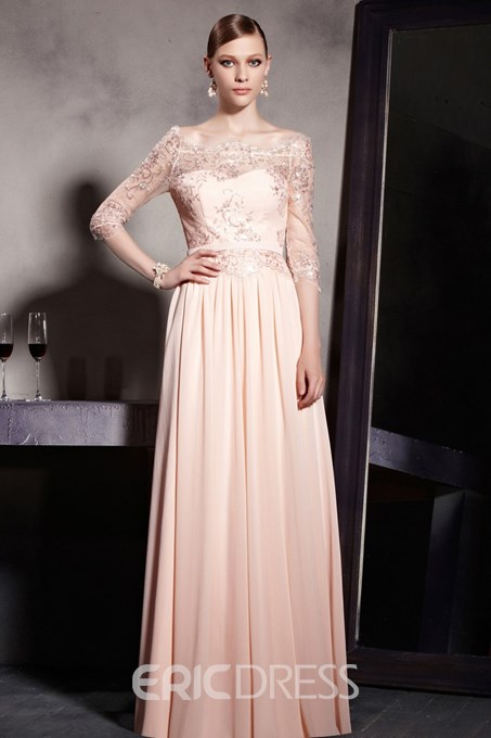A-Line Off the Shoulder Appliques Half Sleeves Floor Length Dramatic Evening Dress