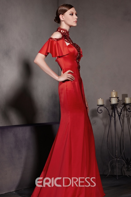 Sexy Sequined High Neck Off Shoulder Short Sleeves Floor Length Trumept Red Satin Evening Dress