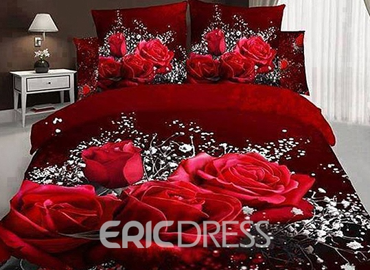 Vivilinen 3D Red Rose and Baby Breath Printed Cotton 4-Piece Bedding Sets