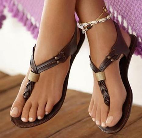 Ericdress Fashionable Brown PU Flat Sandals