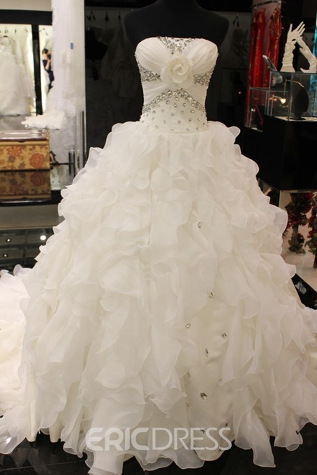 A-line Strapless Beaded Wedding Dress