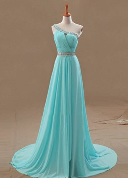 Hot Selling A-Line One-Shoulder Beading Court Train Evening Dress