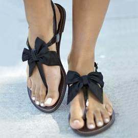Ericdress Satin Bowknot Flat Sandals