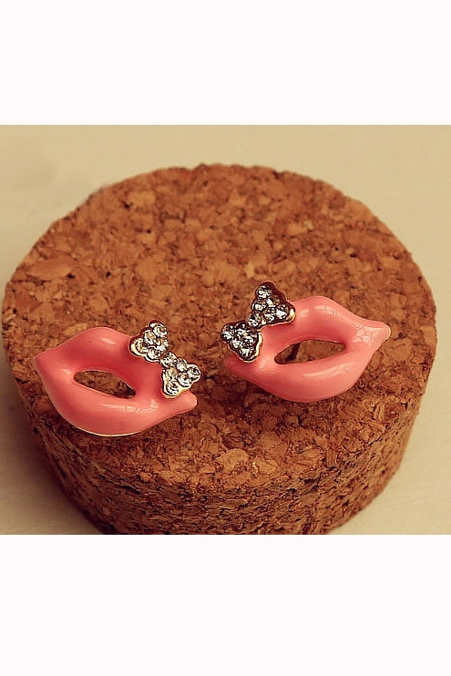 Exquisite Lips Rhinestone Bowknot Alloy Earrings