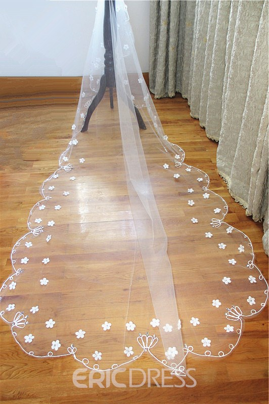 Cathedral Length Ivory Flowers Wedding Veil