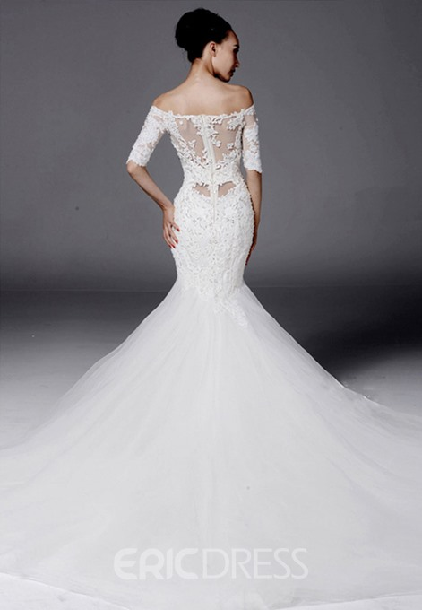 Ericdress Mermaid Off-The-Shoulder Appliques Beadings Wedding Dress