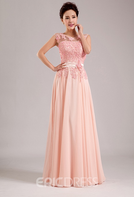 Gorgeous A-Line Scoop Appliques Floor-Length Bridesmaid Dress