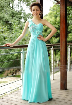 Beautiful A-Line One-Shoulder Flower Floor Length Bridesmaid Dress