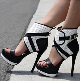 Contrast Color PU Ankle Strap Platform Sandals