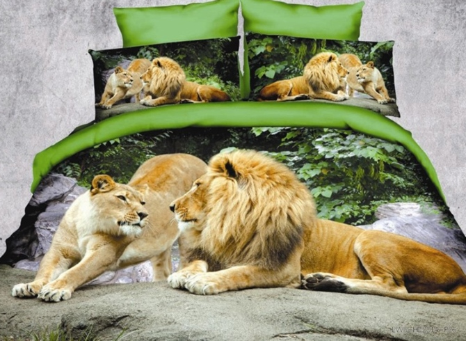 Vivilinen Crown Lion Couple Print Polyester 3D Bedding Sets