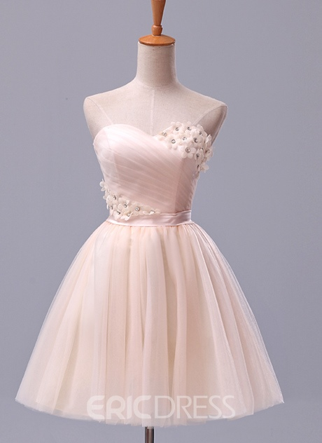 Ericdress A-Line Sweetheart Ruched Flowers Beading Mini Homecoming Dress