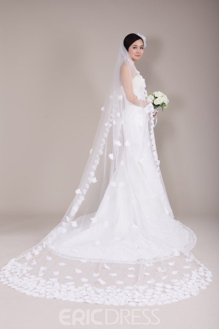 Cathedral Tulle Wedding Veil Embellished with Exquisite Beaded Hand-made Flowers