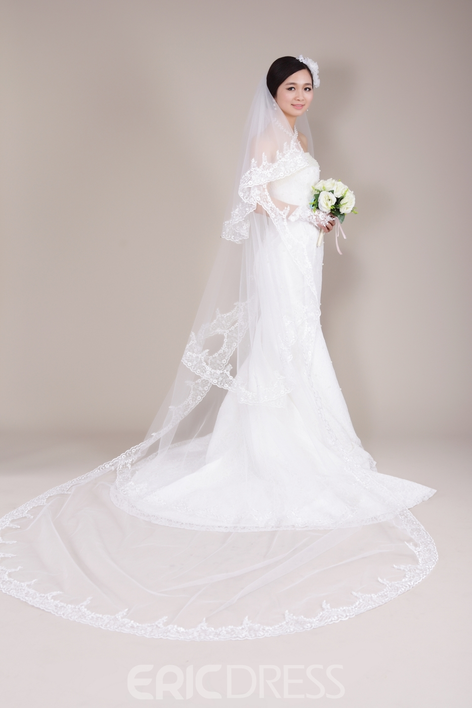 Stunning Cathedral Train Lace Trim Wedding Veil