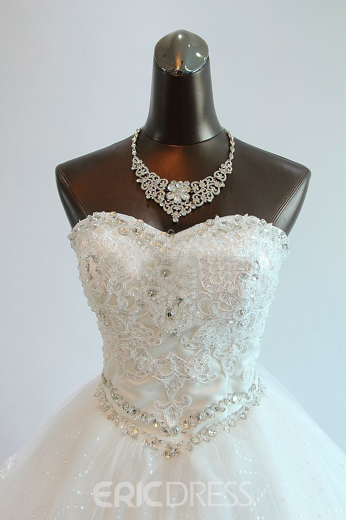 Gorgeous Ball Gown Sweetheart Beading Appliques Chapel Charming Wedding Dress